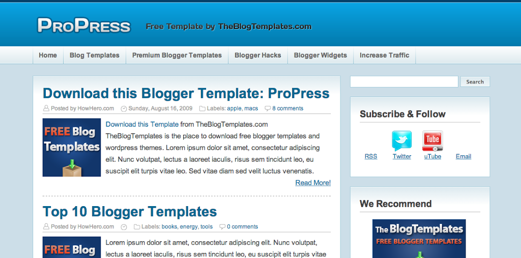 ProPress - Free Blogger Template - Best Blog Widgets For FreeBest ...