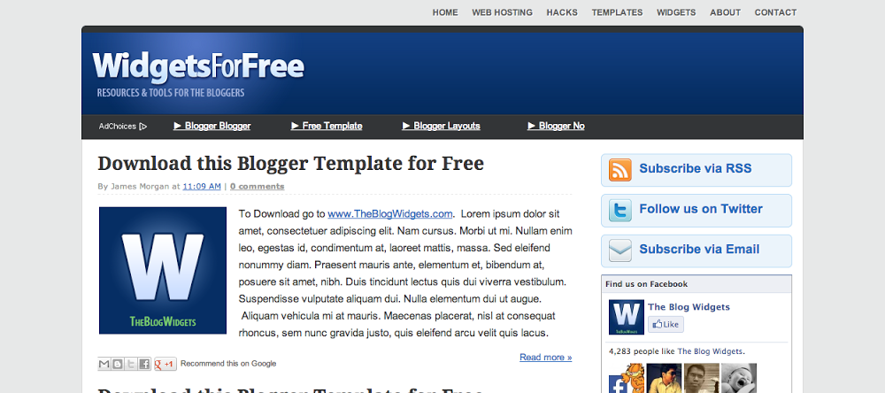 WidgetsForFree Blogger Template – free download